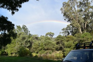 My bad photography doesn't reflect how amazing this rainbow was when it shone over our campsite